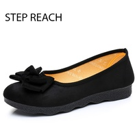 Spring And Autumn Women Single Shoes Woman Canvas Bow Shoes Work Casual Flat Shoes Women Flats