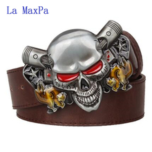 Fashion Wild Men's leather belt Joker Poker card metal buckle belts