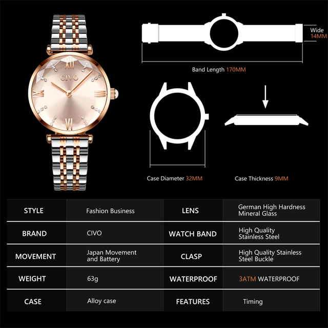 CIVO Luxury Crystal Watch Women Waterproof Rose Gold Steel Strap Ladies Wrist Watches Top Brand Bracelet Clock Relogio Feminino 6
