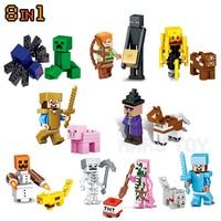 Minecrafted Action Figures Set Steve Zombie Alex Witch ZombiePigman Skeleton Compatible LegoINGlys Gift For Kids Friends