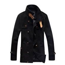2017 мужская Мода зима шерстяные пальто однобортный стенд воротник slim fit мужская гороха пальто 4XL 5XL ACL30
