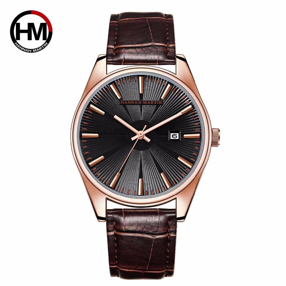 Ханна Мартин новый список мужской роскошный бренд часов часы кварцевые часы модные кожаные ремни часы спортивные наручные часы