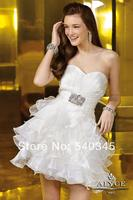 Ball Gown White Sweetheart Short Dress Graduation Dresses for 8th Grade Beads Sequined Pleat Organza Homecoming Dress 2014 H4