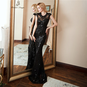 Image 2 - Personality Evening Dress vestido de festa Sexy Black Long Sequin prom gowns Formal Party dress  vestido de mujer
