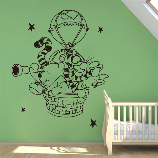 Us 7 42 6 Off Winnie The Pooh Wall Decal Hot Air Balloon Vinyl Nursery Room Home Decoration Waterproof Removable Stickers In
