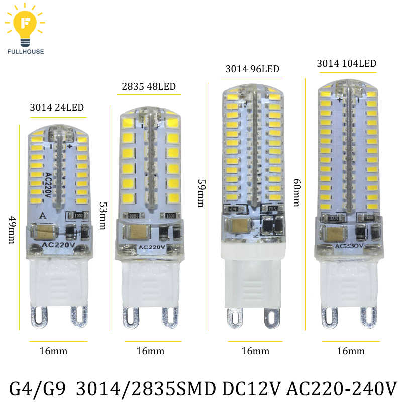 G4 LED Lamp Mini Dimmable 12V DC/AC 3W 6W 9W LED G9 LEDs Bulb Chandelier Light Super Bright G4 G9 COB Silicone Bulbs Ampoule