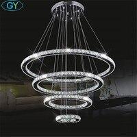 Большой Современные светодиодные люстры 98 Вт 4 кольца K9 с украшением в виде кристаллов потолочный подвесной светильник для гостиная столов