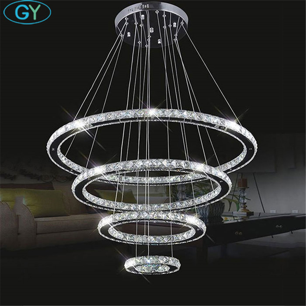 Led Chandelier Us 320 Large Modern Led Chandeliers 98w 4 Rings K9 Crystal Ceiling Hanging Fixture For Living Dinning Room Ring Lustre Big Circle Lamp In