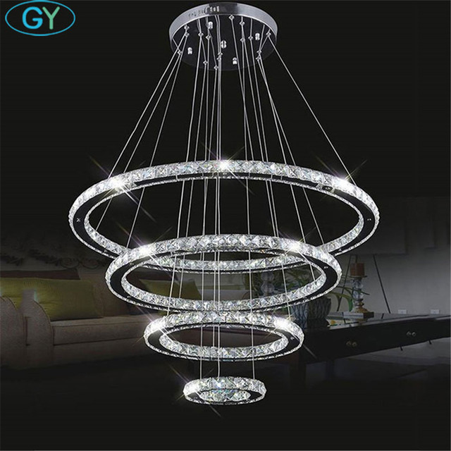 Large Modern LED Chandeliers 98W 4 rings K9 Crystal ceiling hanging Fixture For living dinning room Ring lustre big Circle Lamp