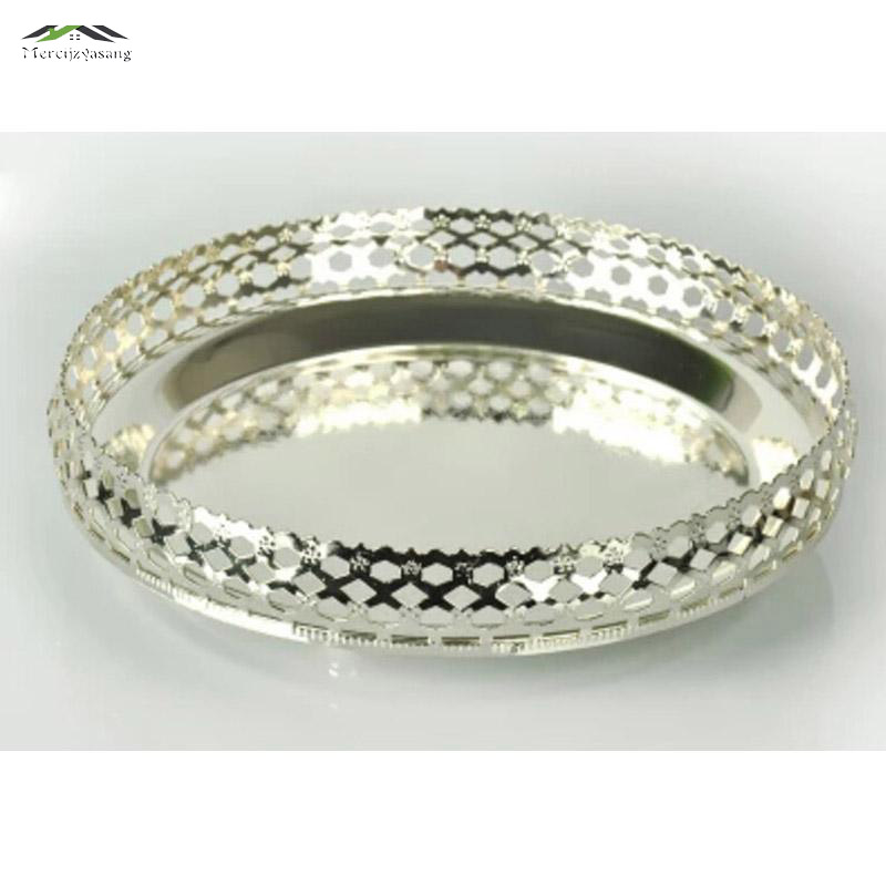 New elegant shiny silver finish tray round plate high grade Dishes Plates for wedding or party