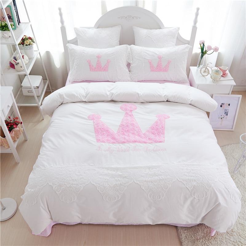 unids estilo princesa ropa de cama conjunto patrn de la reina juegos de cama