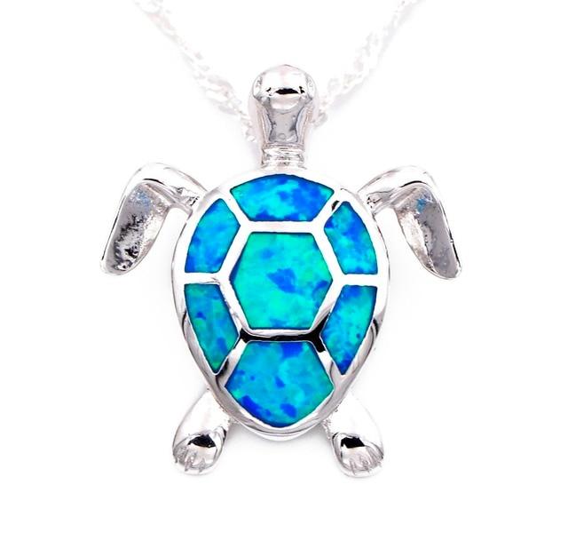 Cute Blue Fire Opal Sea Turtle Design Pendant Necklace For Women In