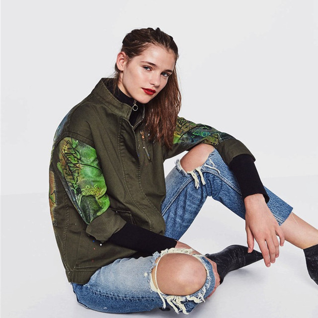 Army Green Fashion Casual Trench Coat For Women 2016 Autumn Winter Multicolor Letters Personalized Graffiti Trench Coats Outwear