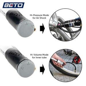 Image 5 - BETO شوكة الإطارات صدمة دراجة مضخات 300psi مقياس مضخة يدوية صغيرة للدراجات Schrader بريستا محول خرطوم منفاخ دراجة دورة الهواء مضخة