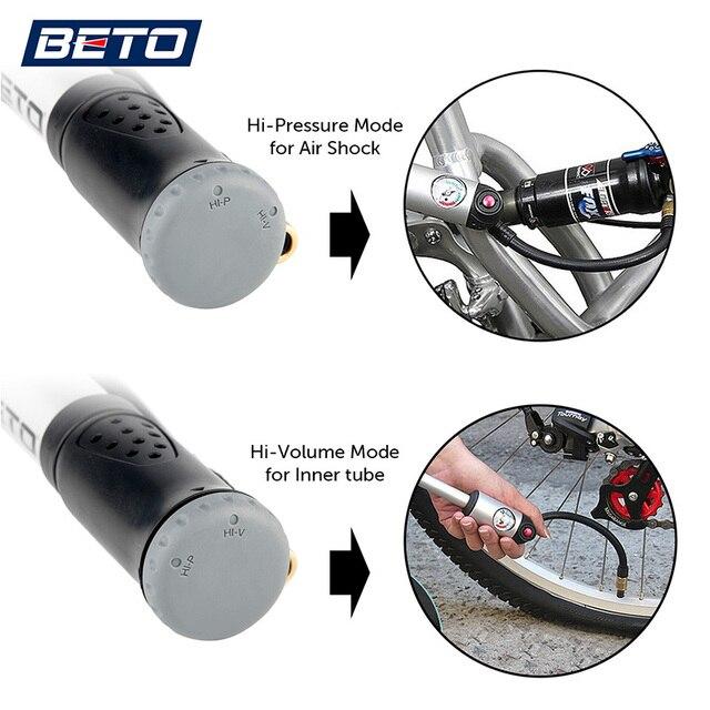 BETO fourche pneu choc vélo pompes 300psi jauge Mini pompe à main pour vélo Schrader Presta adaptateur tuyau vélo pompe Air Cycle pompe