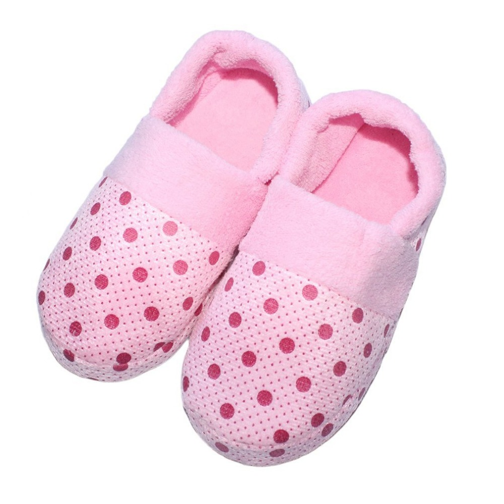 Winter Warm Home Floor Slippers Women&Men shoes Soft Sole Non-slip Ladies Indoor Slippers Dots Cotton-Padded Lovely Pantufas novelty cotton winter bow tie men slippers soft keep warm solid plush home grey brown indoor shoes with fur cotton padded shoes