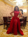 Honey Qiao Myriam Fares Red Lace Celebrity Dresses 2017 Arabic Dubai Long Celebrity Abiye Detachable Train Elegant Evening Gowns