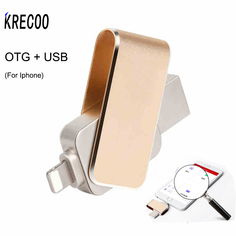 New Waterproof OTG +USB High Speed Usb3.0  For Iphone Flash Drive 64GB 32GB 4GB Pen Drive Metal Usb Flash For IPhone/ PC suntrsi usb flash drive for iphone high speed usb 3 0 pen drive 32gb 64gb with usb cable double function pendrive