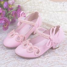 Filles Talon Chaussures Automne Bowtie Sandales 2016 Nouveaux Enfants Chaussures Haute Talons Princesse Arc Doux Sandales Perlées Chaussures Pour Filles