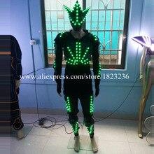 Полный Цвет LED Освещение Костюмы LED робот световой костюм с led маска для сценического шоу Костюмы для бальных танцев Одежда для танцев