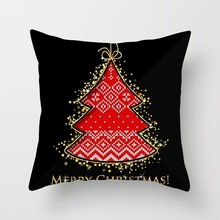 Black Red Christmas Pillow Case Square Tree Deer Letter Pillow Cover Home Decorative Sofa Throw Cushion Cover Sofa Seat Car Bed цена в Москве и Питере