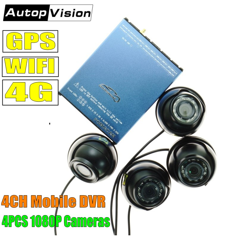 Factory Direct 4G remote view and GPS tracking Mobile DVR System for Taxi,bus,truck used 4 Channel AHD 1080P SD Card DVR SDVR104