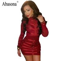 Abasona Sexy Turtleneck Long Sleeve Rivet Summer Dress 2017 Bodycon Party Short Dress Women Sheer Mesh