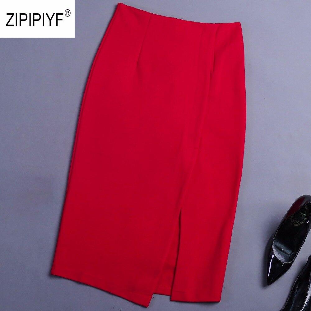Summer Slim Office Skirt Faldas Women Sexy Elastic High Waist Pencil Skirt Slit one Step Office Formal Skirt Saias Skirts B1367