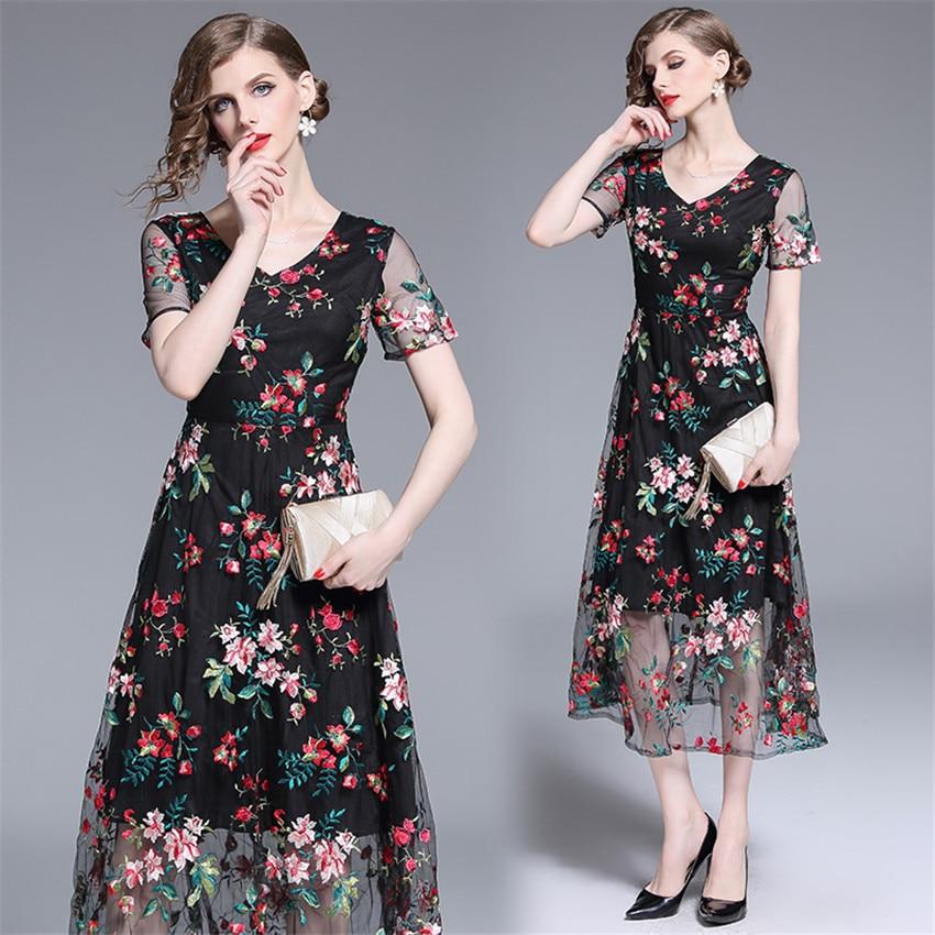 2019 Robe d'été femmes à manches courtes Sexy pure Floral broderie maille Robe dames Vintage robes mi-mollet Robe Femme - 2