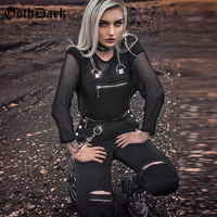 Goth Dark Solid Handmade Hole Women Jumpsuit Zipper Buckle Ruched Patchwork Jumpsuits trousers Female Gothic Strap Summer Romper