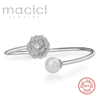 925 Sterling Silver Bangles Women Flower Shaped Adjustable Sea Shell Pearl Bangle Ladies Pearl Jewelry For