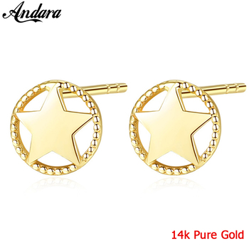 2019 New Arrival 14k Gold Jewelry Smooth Hollow Star Stud Earrings Simple Yellow Gold Earrings
