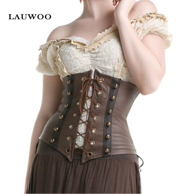 New Fashion women retro Brown steampunk underbust corsets shaperwear lace up bustiers Club Party Apparel
