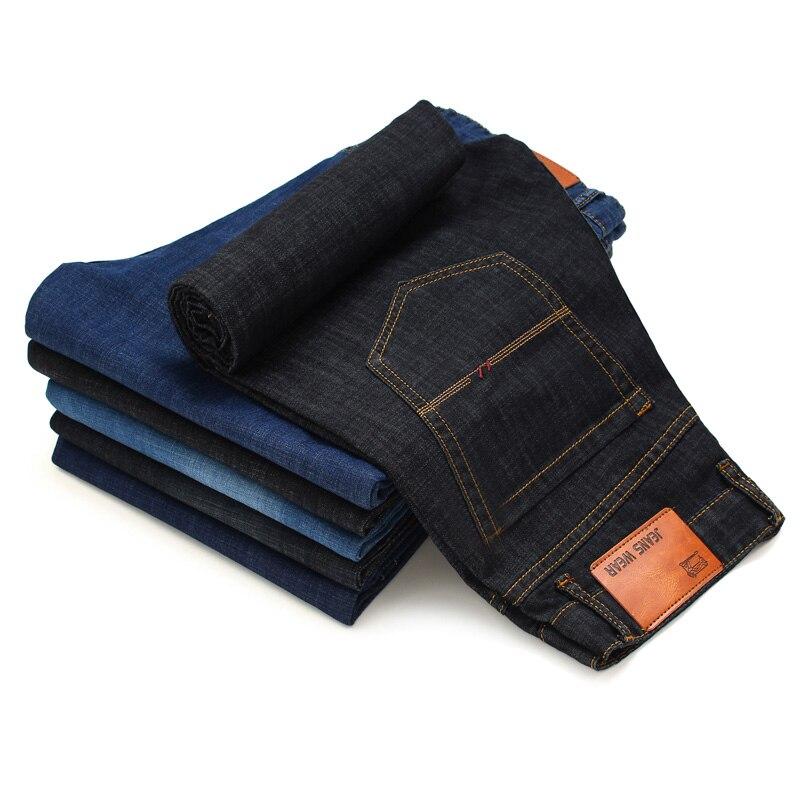 New Cotton Straight Classic Jeans Men Spring Autumn Slim Elastic Jeans Fashion Business Classic Style Skinny Jeans Denim Pants