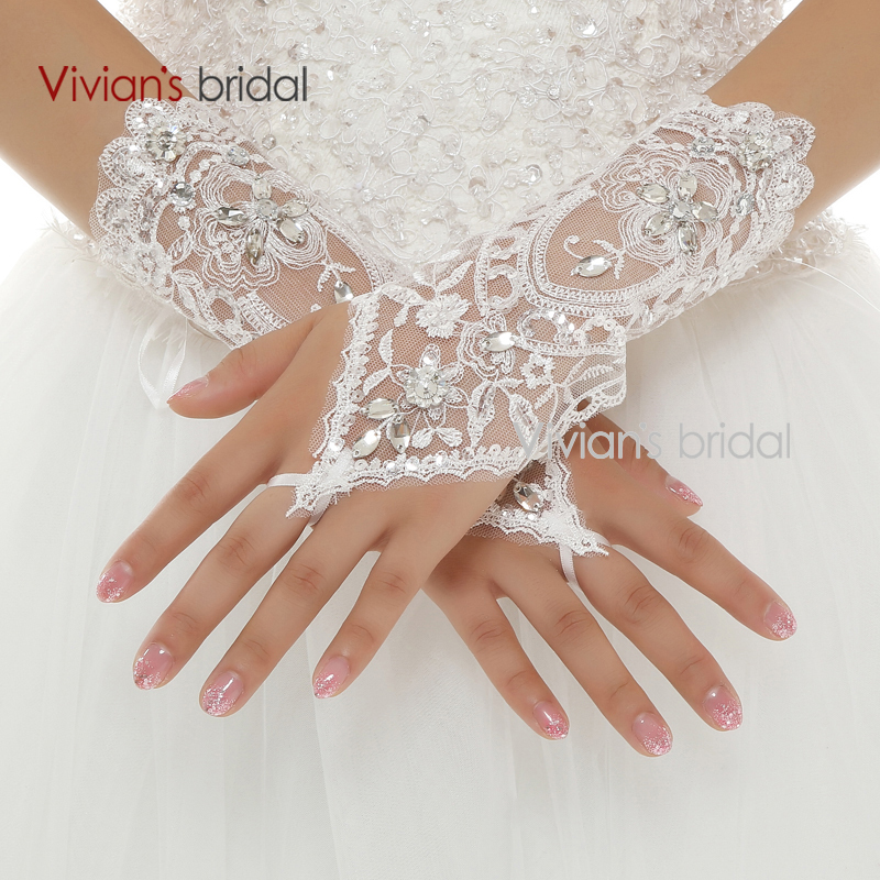 Vivian 39 s bridal cheap price beaded lace wrist length short for Where to buy wedding accessories