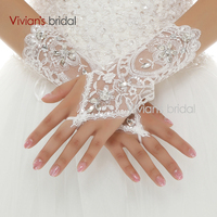 Vivian's Bridal Cheap Price Beaded Lace Wrist Length Short White Fingerless Wedding Gloves Hot Sale For Wedding Accessories WG24