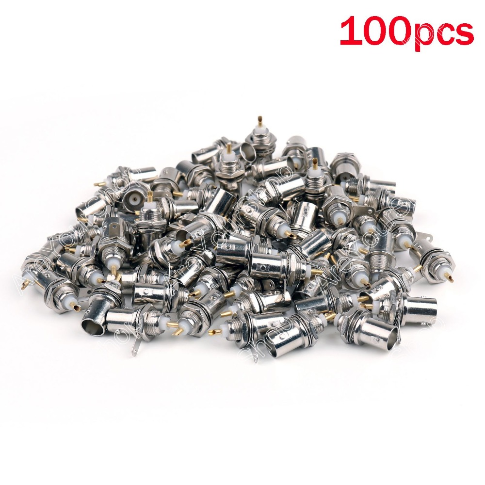 Areyourshop High Quality 100 PCS BNC Female Connectors Chassis Panel Mount Monitor Accessories 100pcs bnc female socket plug panel chassis solder rg59