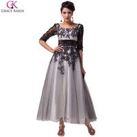 Grace Karin Black Evening Dress Long 2016 Arabic Half Sleeve Plus Lace Mother Of The Bride