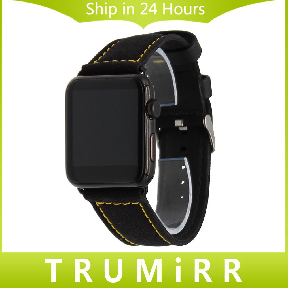 Prix pour Toile et Véritable Bracelet En Cuir pour iWatch Apple Watch 38mm 42mm Remplacement Bracelet Bande Bracelet avec Connecteur Adaptateur