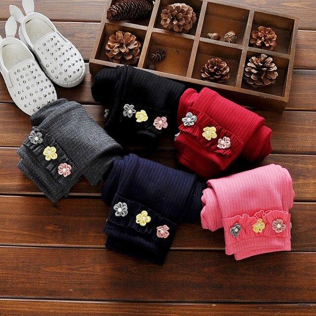 2016 High Quality Spring Autumn Baby Pants Cotton Newborn Baby Girl Plus Thick Velvet Leggings Cartoon Flower Baby Girl Trousers