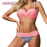 Pink Push Up Two Piece Swimsuit Sexy Halter Bikini Set Swimwear Low Waist Striped Women S