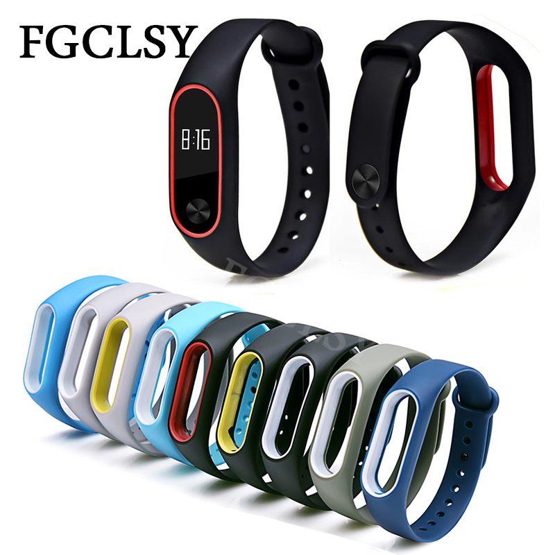FGCLSY mi band 2 Double color wrist strap accessories for xiaomi mi band 2 wristband silicone replacement smart bracelet strap цена