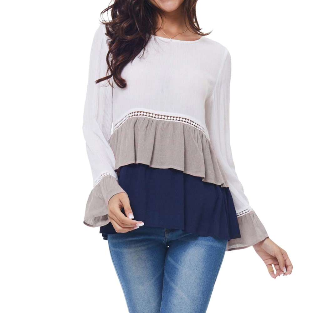 2019 New Fashion Women Casual Work   Blouses   Long Bell Sleeve O Neck Flounce Tiered Chiffon Splice   Shirt   Lace Hollow Out Big Size