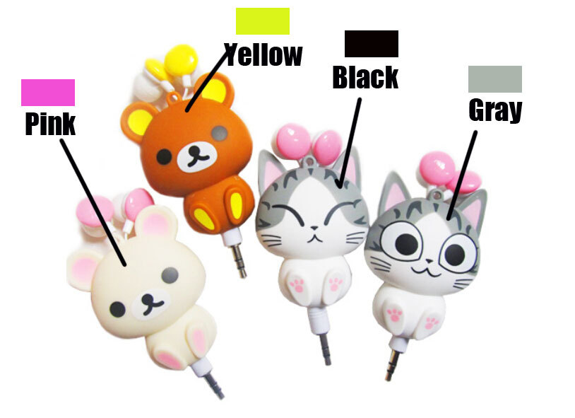 cheese cat cartoon automatic retractable earphones for mobile phone cartoon earphones cute headphone