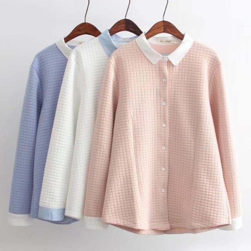 Plus size patchwork winter thick cotton women shirts 2017