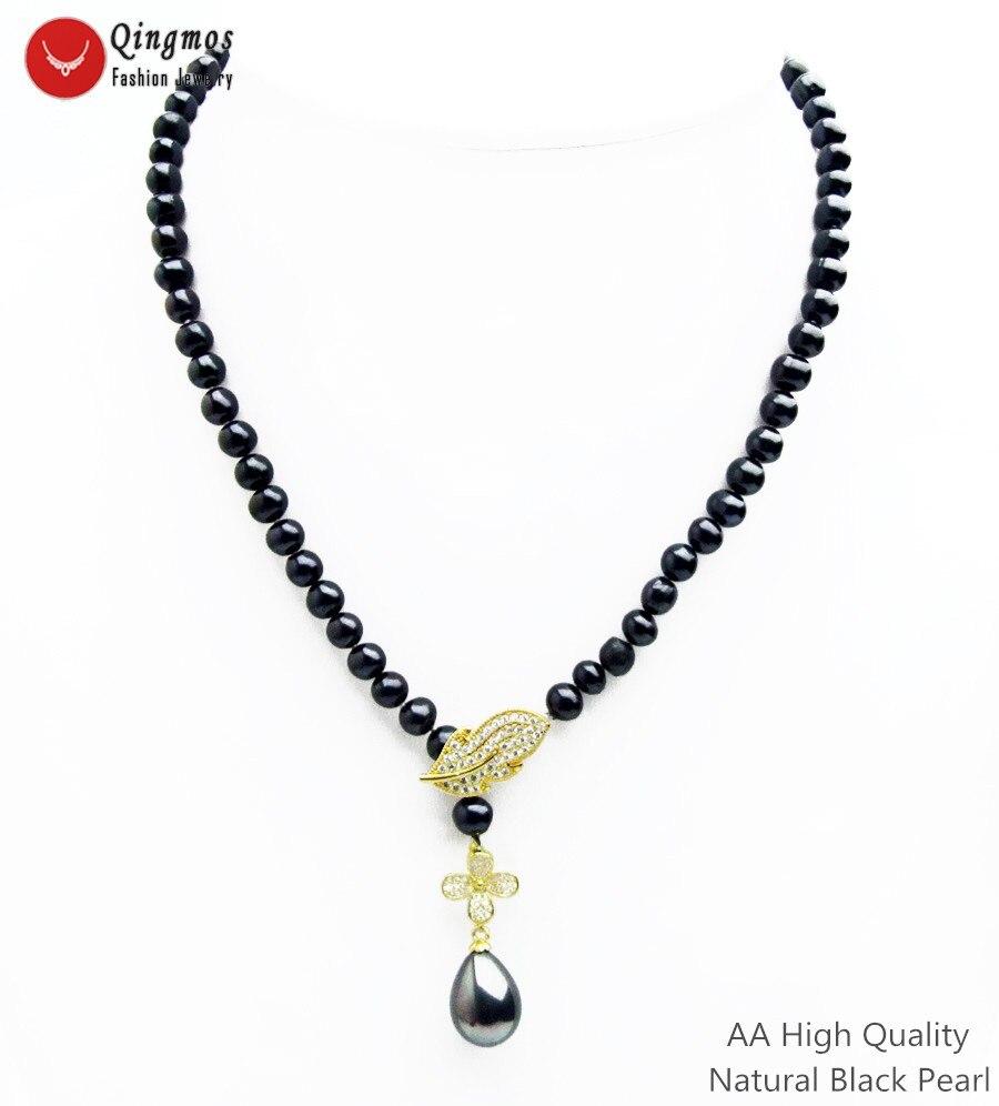 Qingmos naturel AA rond noir collier de perles pour les femmes avec perle de mer goutte collier pendentif bijoux et feuille Zircon fermoir