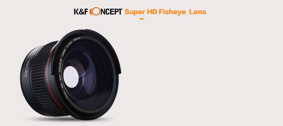 K&F Concept 58MM 0.35X Ultra Clear Blue Film Coated Fish Eye Lens + Microfiber Cloth for Canon Nikon DSLR Cameras free shipping 17