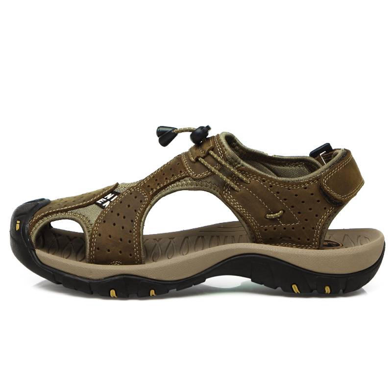 2018 New Summer S Genuine Leather Sandals Hard-wearing Outdoor Sandals Cool Beach Sandals Men Hiking Sandals ...