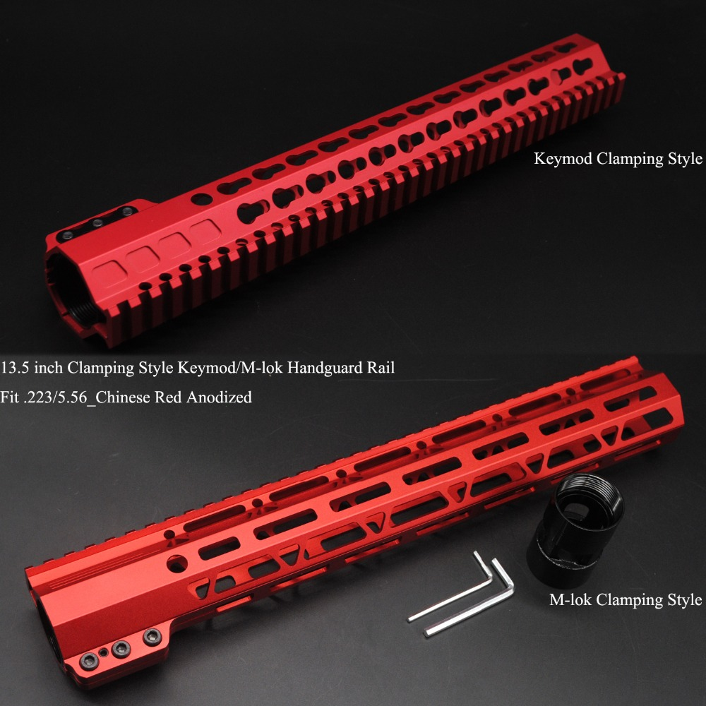 TriRock 13.5'' inch Clamping Style Keymod / M-lok Handguard Rail Picatinny Mount System Fit .223/5.56_Chinese Red Anodized quik lok rs513