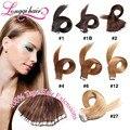 Trama de la piel cinta adhesiva extensiones de cabello 100% pelo virginal brasileño 50 g y 100 g Longqi cinta en extensiones del pelo humano cabelo humano